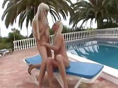 Sluts in shiny swimsuits have lesbian sex outdoor tubes