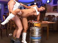 Cute petite brunette fucked in bar tubes