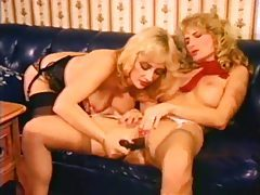 Classic lesbian sex with anal play tubes