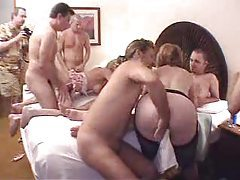 Slutty milfs in an orgy getting nailed tubes