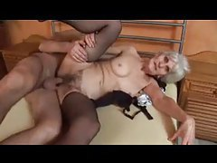 Granny fucked while in her black stockings tubes