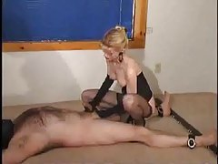 Mistress is not kind to his cock tubes