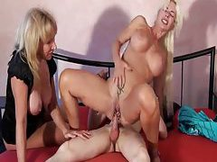 Young man fucks two hot milfs hard tubes