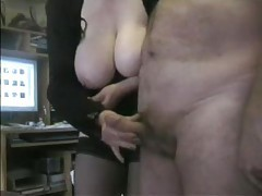 Fat mature in black stockings jacks his cock tubes