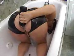 Girl takes enema of his piss tubes