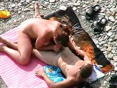 Voyeur clip of couple fucking on beach tubes