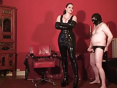 Tall chick in latex dominates her man tubes