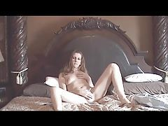 Chick strip and masturbate in bed tubes