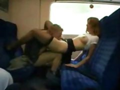 Couple getting dirty on a train tubes