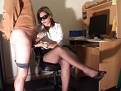 Lovely lady in the office gives a hot handjob tubes
