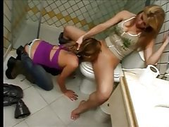 Submissive eats femdom pussy in the bathroom tubes