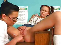 Lesbian classroom sex with a strapon tubes