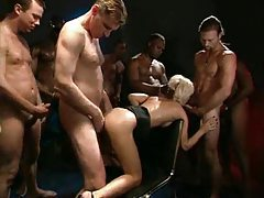 Blonde with great body is gangbanged tubes