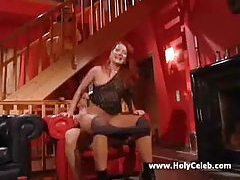 Horny drunk redhead rides and does doggy style tubes