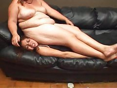 Fat chick lies on her slender friend tubes