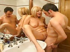 Pierced clit milf gets fucked in bathroom tubes