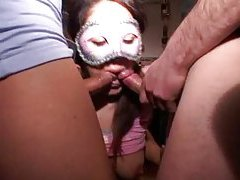 Masked girl in amateur hardcore threesome tubes