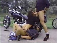 Biker dudes fuck this slut outdoors tubes
