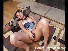 Cute Asian girlfriend masturbating on floor tubes