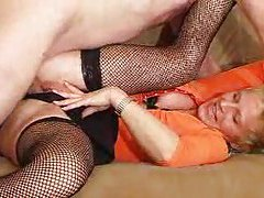 Fishnet mature and young man go banging tubes