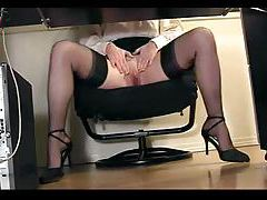 Girl at her desk spreading her legs tubes