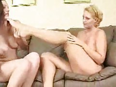Tasty ladies putting toes in hot pussies tubes