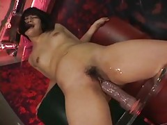 A rather huge dildo fucks her Japanese pussy tubes