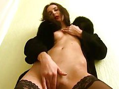Charming russian in stockings tubes