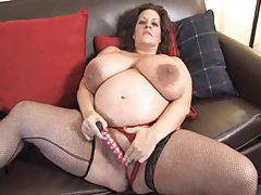 Cute masturbating brunette in stockings tubes