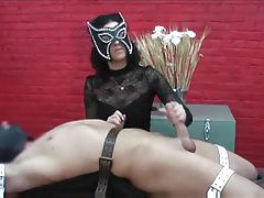 Bound man gets hot rough handjob tubes