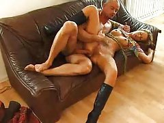 Blonde beauty in boots banged up the ass tubes