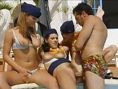 Five hot stewardesses let him use their bodies tubes