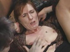 Dudes having an orgy with mature sluts tubes