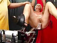 Dildo machine fucks the lusty granny tubes