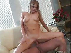 Shaved pussy slut sucks and fucks tubes
