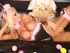 Amazing blonde is your sexy Easter bunny tubes