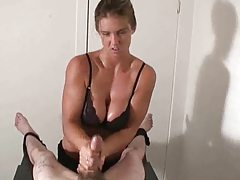 Busty chick giving handjob to tied down guy tubes
