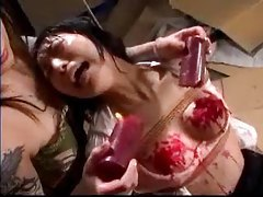 Asian screams as wax is dripped on her tubes