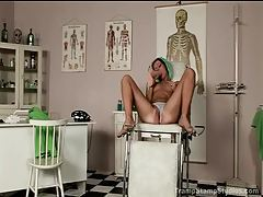 Girl in a doctor's office playing naughty tubes