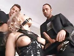 Blonde in collar and latex does gangbang tubes