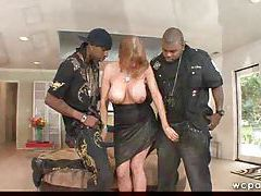 Milf in a black dress does an interracial DP tubes