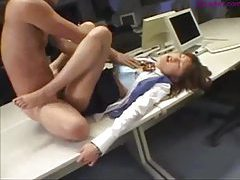 Fucking Japanese on desk and cumming tubes