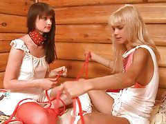 Two 18yo bounded chicks playing tubes