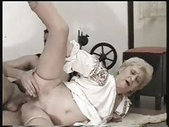 Curvy old granny in stockings has sex tubes