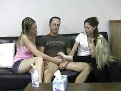 Three women give him a CFNM handjob tubes