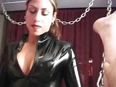 Latex strapon babe fucks his asshole tubes