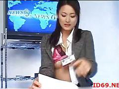 Japanese girls fingered during the news tubes