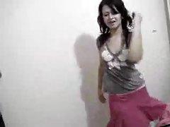 Honey in skirt dances on her webcam tubes