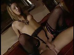 Smoking hot girl in lingerie fucked deep tubes