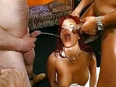 Guys cum on the the slut and piss on her tubes